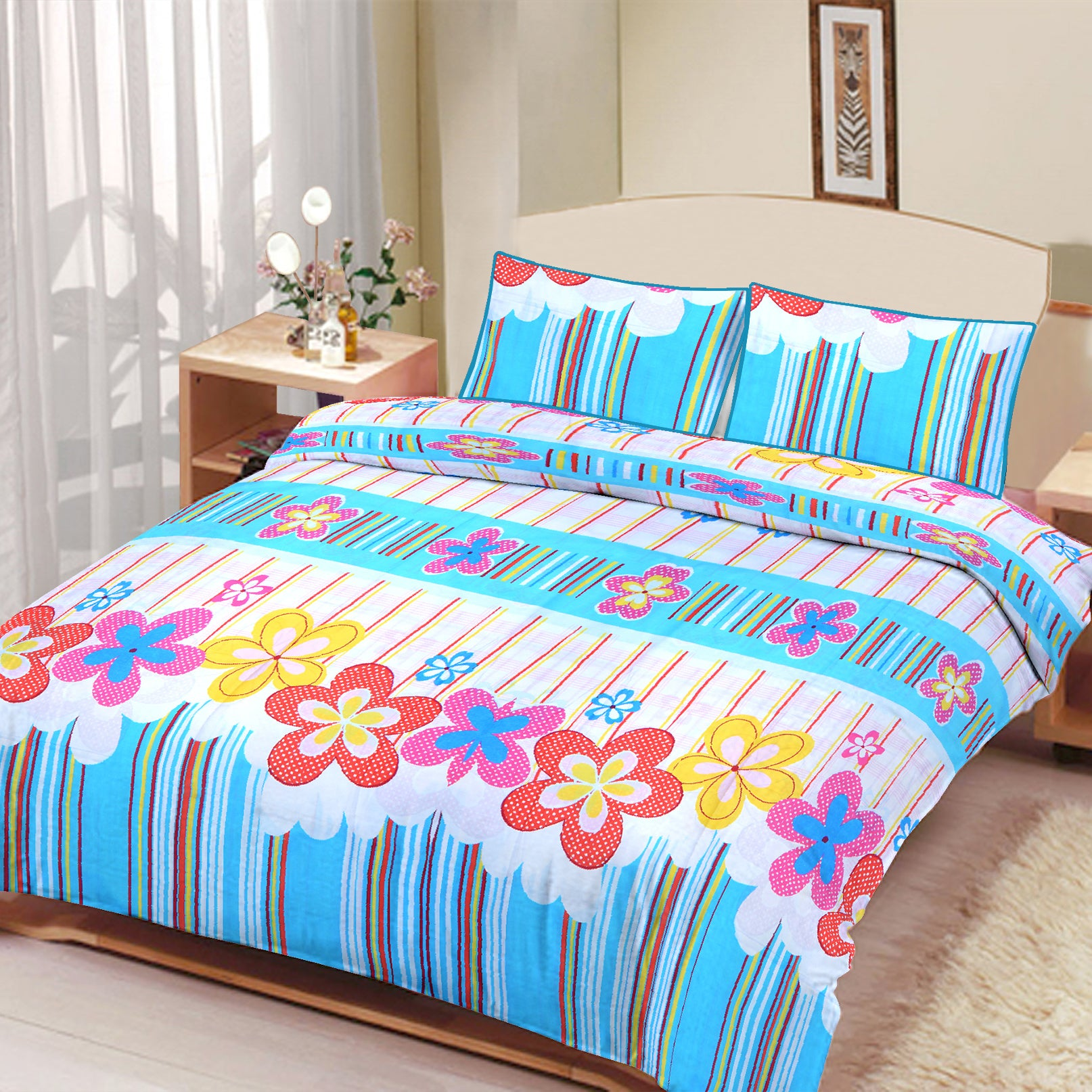 Okeru0027s Island 100% Cotton Printed Double Bed Sheet U0026 Pillow Set BE5693