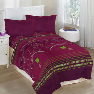 Oker's Island 100% Cotton Printed Double Bed Sheet & Pillow Set-BE5694