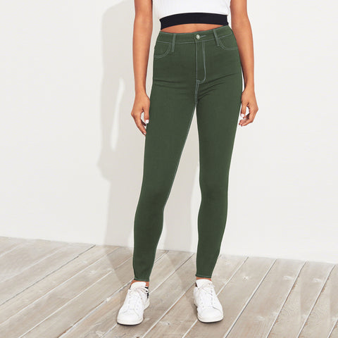 Old Navy Stylish Slim Fit Denim For Ladies-Dark Olive Green-BE5690