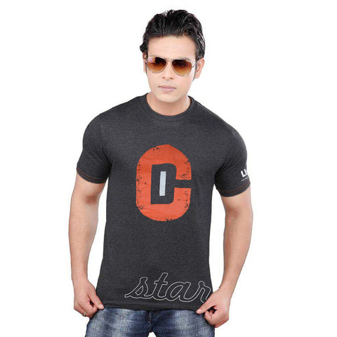LIFETIME Fashion Crew Neck T Shirt For Men-Charcoal Printed-BE929