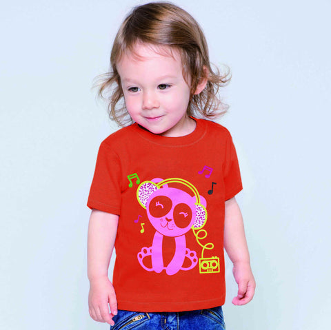 Fassion Crew Neck T Shirt For Kids -Orange Red-BE821