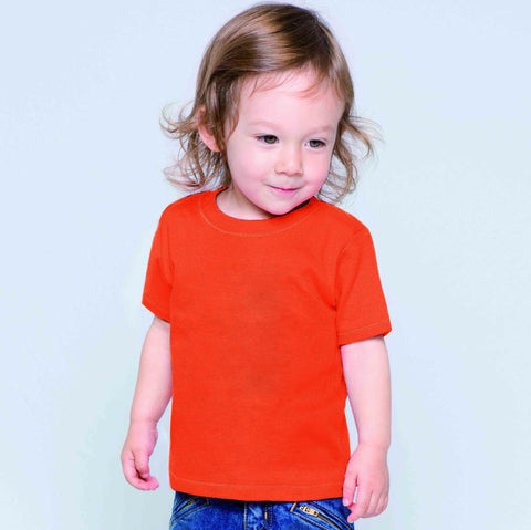 Fassion Crew Neck T Shirt For Kids -Orange Red-BE818
