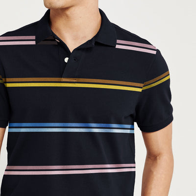 brandsego - Outdoor Life Short Sleeve P.Q Polo Shirt For Men-Dark Navy with Stripe-BE8295