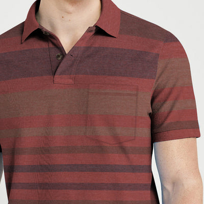 brandsego - Outdoor Life Short Sleeve Single Jersey Polo Shirt For Men-Striped-BE8369
