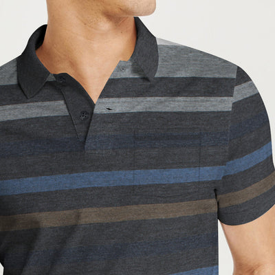 Outdoor Life Short Sleeve Single Jersey Polo Shirt For Men-Striped-BE8623