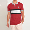 Outfitters Short Sleeve P.Q Polo Shirt For Men-Red with Striped-BE8397