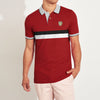 Outfitters Short Sleeve P.Q Polo Shirt For Men-Red with Striped-BE8613