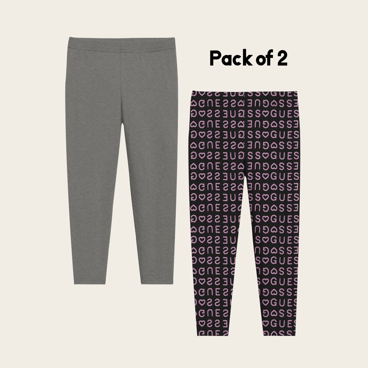 Pack Of 2 Guess Stylish Legging For Girls-Dark Grey Melange with Black Allover Print-BE12313
