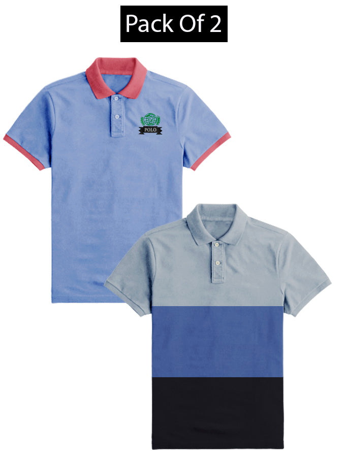 Pack Of 2 Short Sleeve P.Q Polo Shirt For Men-AN2677