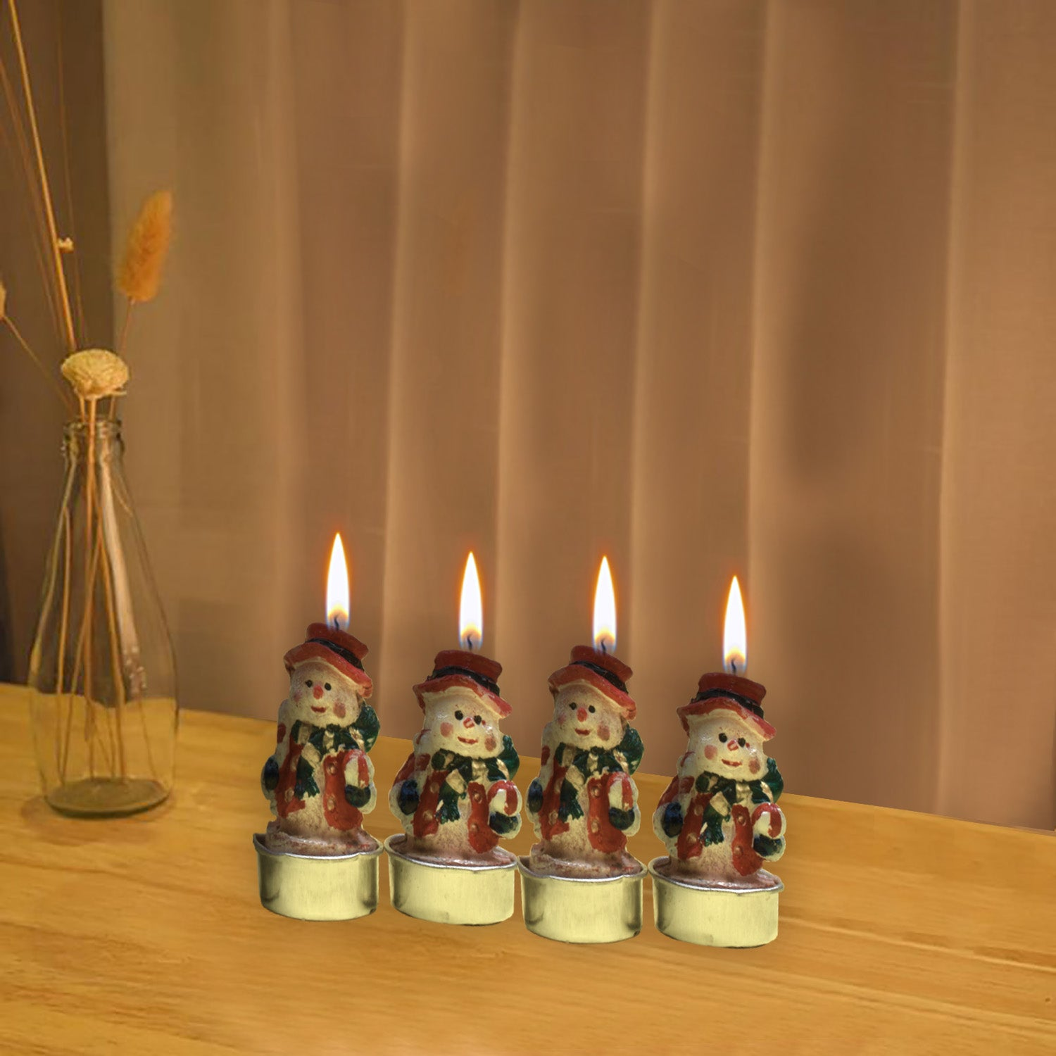 Pack Of 4 Merry Christmas Candles-Red-AN1008