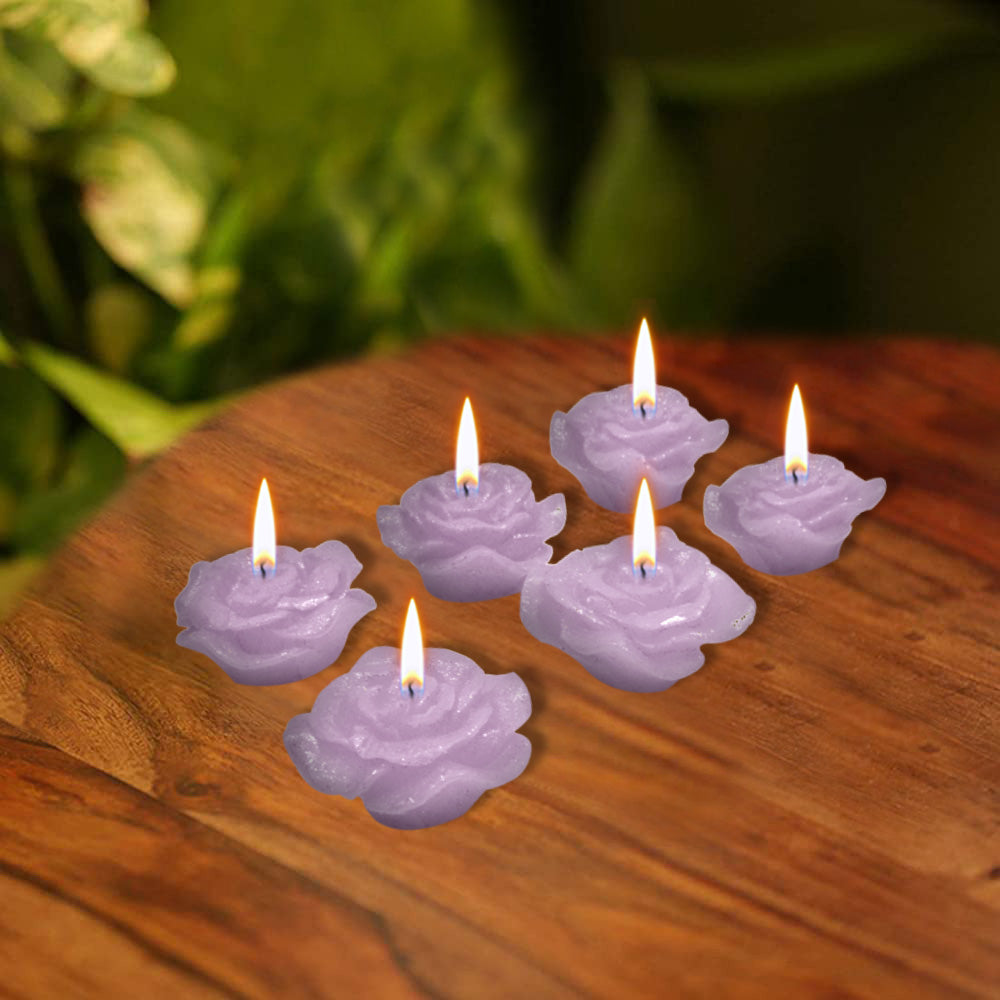 Pack Of 6 Flower Shape Table Candles-Light Purple-AN1004