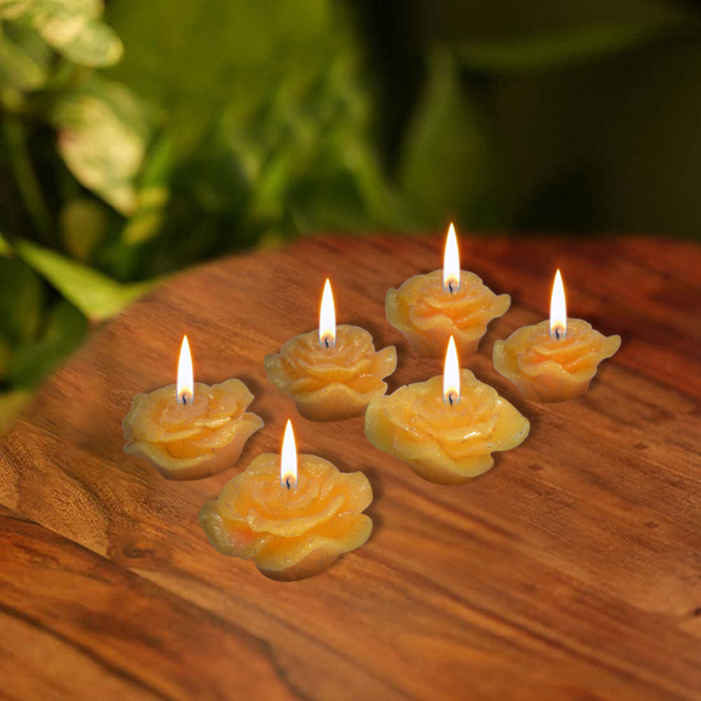Pack Of 6 Flower Shape Table Candles-Yellow-AN1001