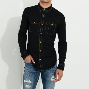 Payper Wear Button Down Casual Shirt For Men-Black-NA1288
