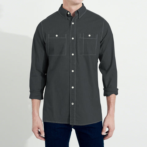Payper Wear Button Down Casual Shirt For Men-Dark Gray-NA1285