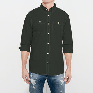 Payper Wear Button Down Casual Shirt For Men-Dark Olive Green-NA1286