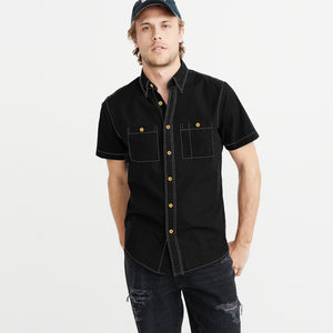 Payper Wear Button Down Half Sleeve Casual Shirt For Men-Black-NA1284