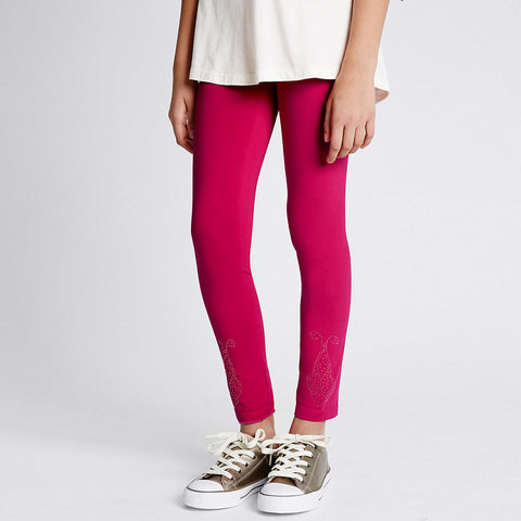 Kid's Jersey Stylish Tights D Pink-(D11)