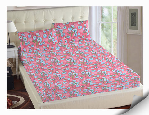 KML 100% Cotton Floral Double Bed Sheet & Pillow Set