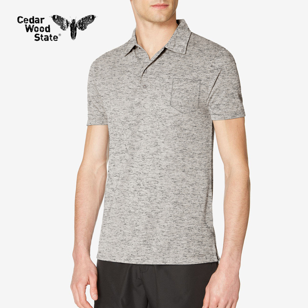 Cedarwood State Polo Shirt For Men Cut Label-Gray Melange-BE2481