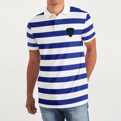 brandsego - POLO Classic Short Sleeve P.Q Polo Shirt For Men-White & Blue Stripe-BE8440