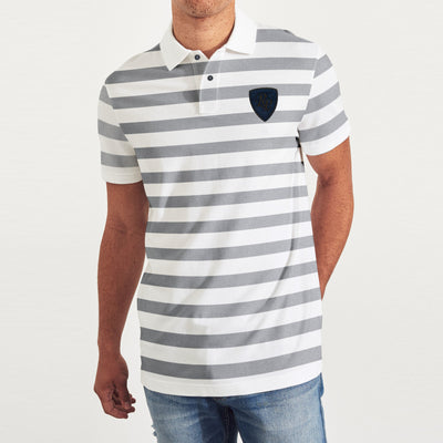 brandsego - POLO Classic Short Sleeve P.Q Polo Shirt For Men-White & Grey Stripe-BE8453