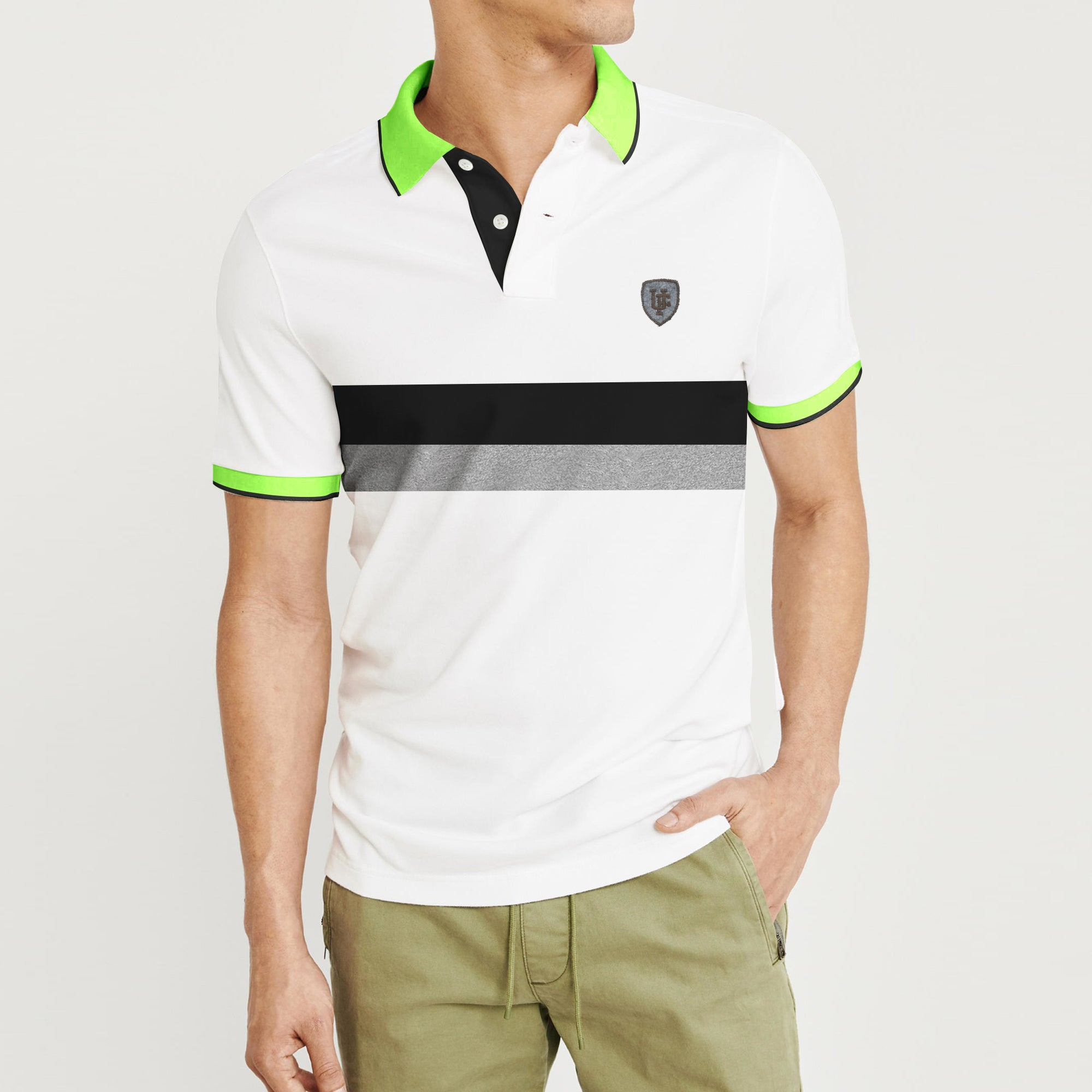 POLO Classic Short Sleeve P.Q Polo Shirt For Men-White with Stripe-BE8621