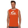 Polyester Sleeveless Sport Shirt For Men-Orange & White-BE6564