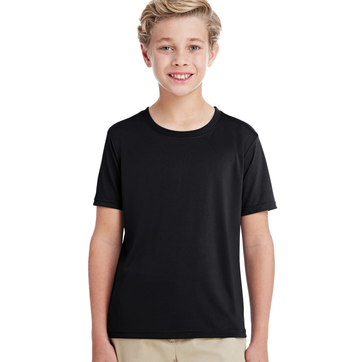 Popular Sport Crew Neck Single Jersey Tee Shirt For Kids-Black-BE12158