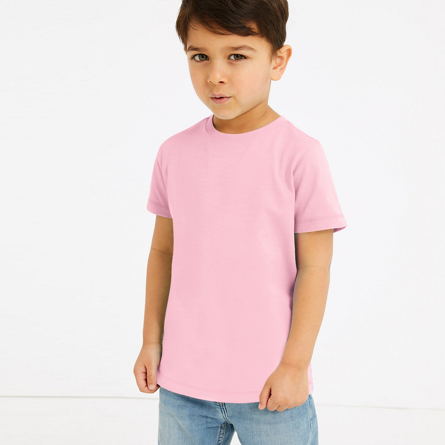 Popular Sport Crew Neck Single Jersey Tee Shirt For Kids-Light Pink-BE12243