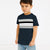 NK Crew Neck Tee Shirt For Kids-Dark Navy With Panels-SP2857