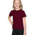 Popular Sport Crew Neck Single Jersey Tee Shirt For Kids-Maroon-BE12185