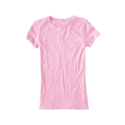 brandsego - Popular Sport Single Jersey Crew Neck Tee Shirt For Women-Light Pink-BE9688