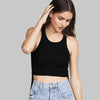 Popular Sport Viscose Crew Neck Sleeveless Top For Women-Black-BE9683