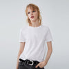 Popular Sport Viscose Crew Neck Tee Shirt For Women-White-BE9703