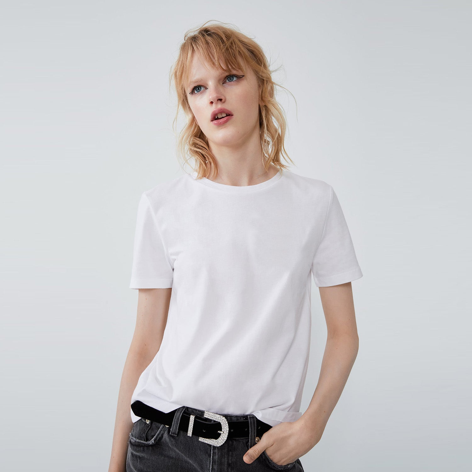 brandsego - Popular Sport Viscose Crew Neck Tee Shirt For Women-White-BE9703