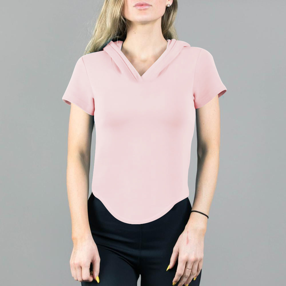 Popular Sports Half Sleeve Hooded Tee Shirt For Women-Light Pink-BE12215