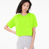 Popular Sports Viscose Crew Neck Crop Top For Women-Lime Green-BE9691