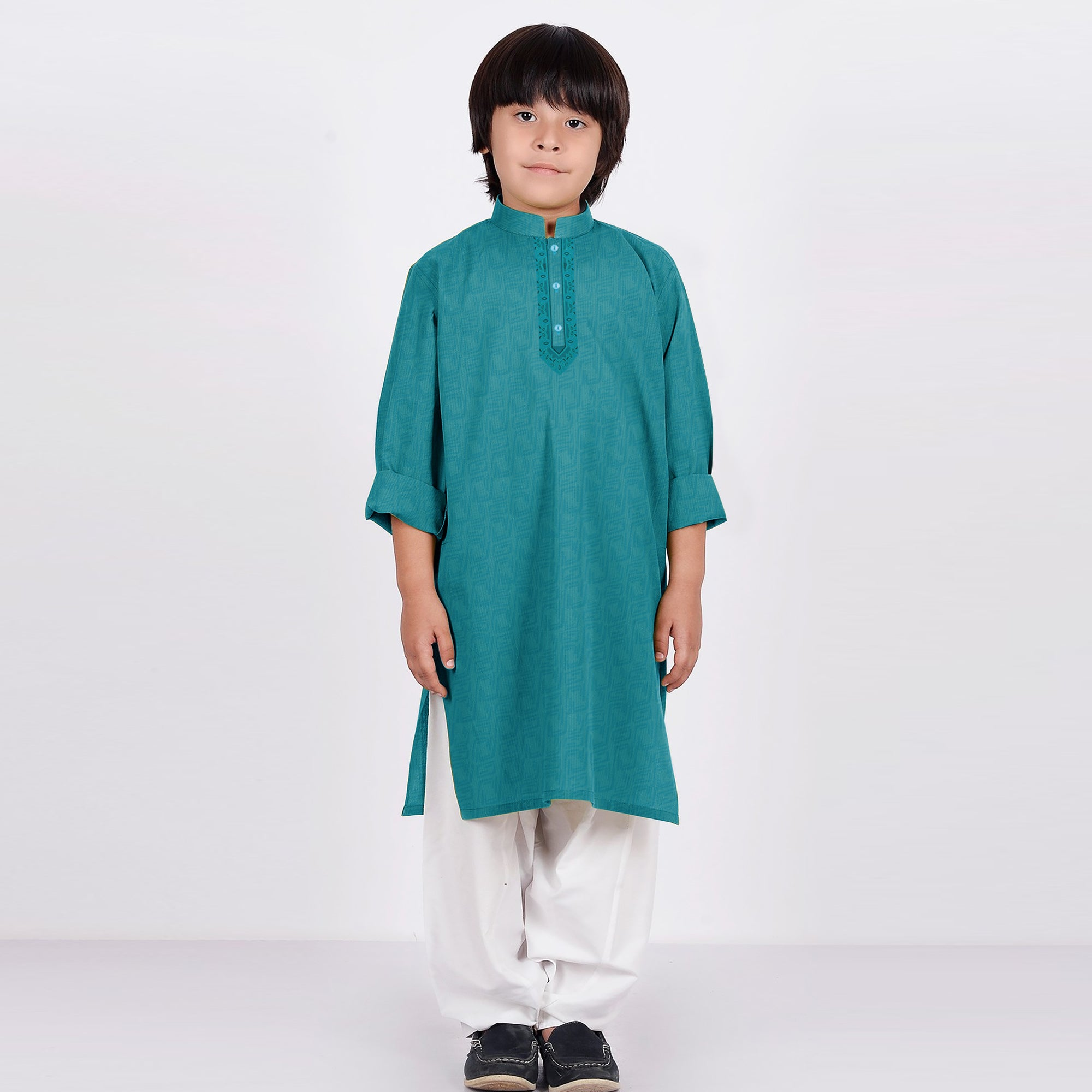 Premium Kurta & Shalwar For Boys-Cyan Green with White-BE6922