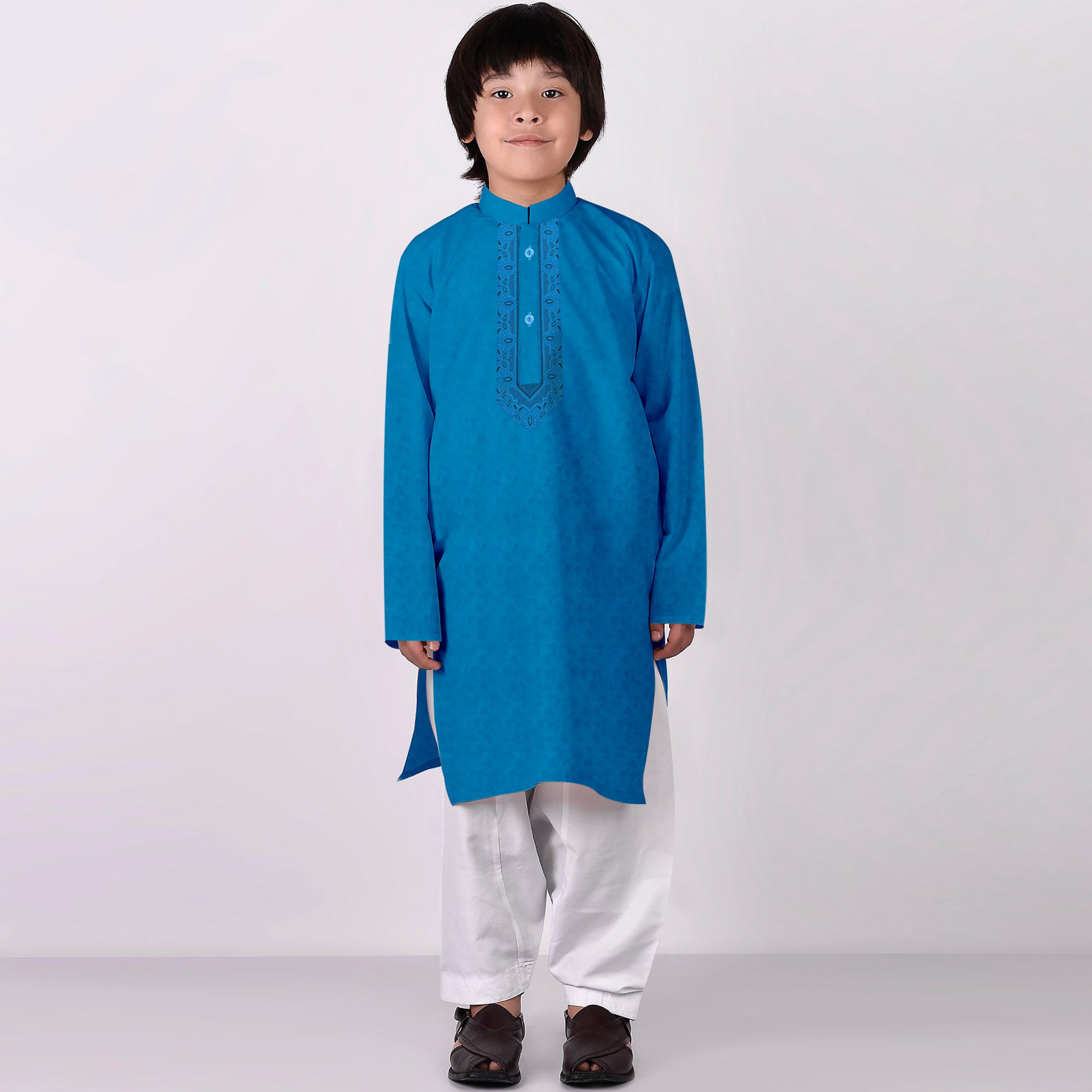 Premium Kurta & Shalwar For Boys-Ferrozi with White-BE6923