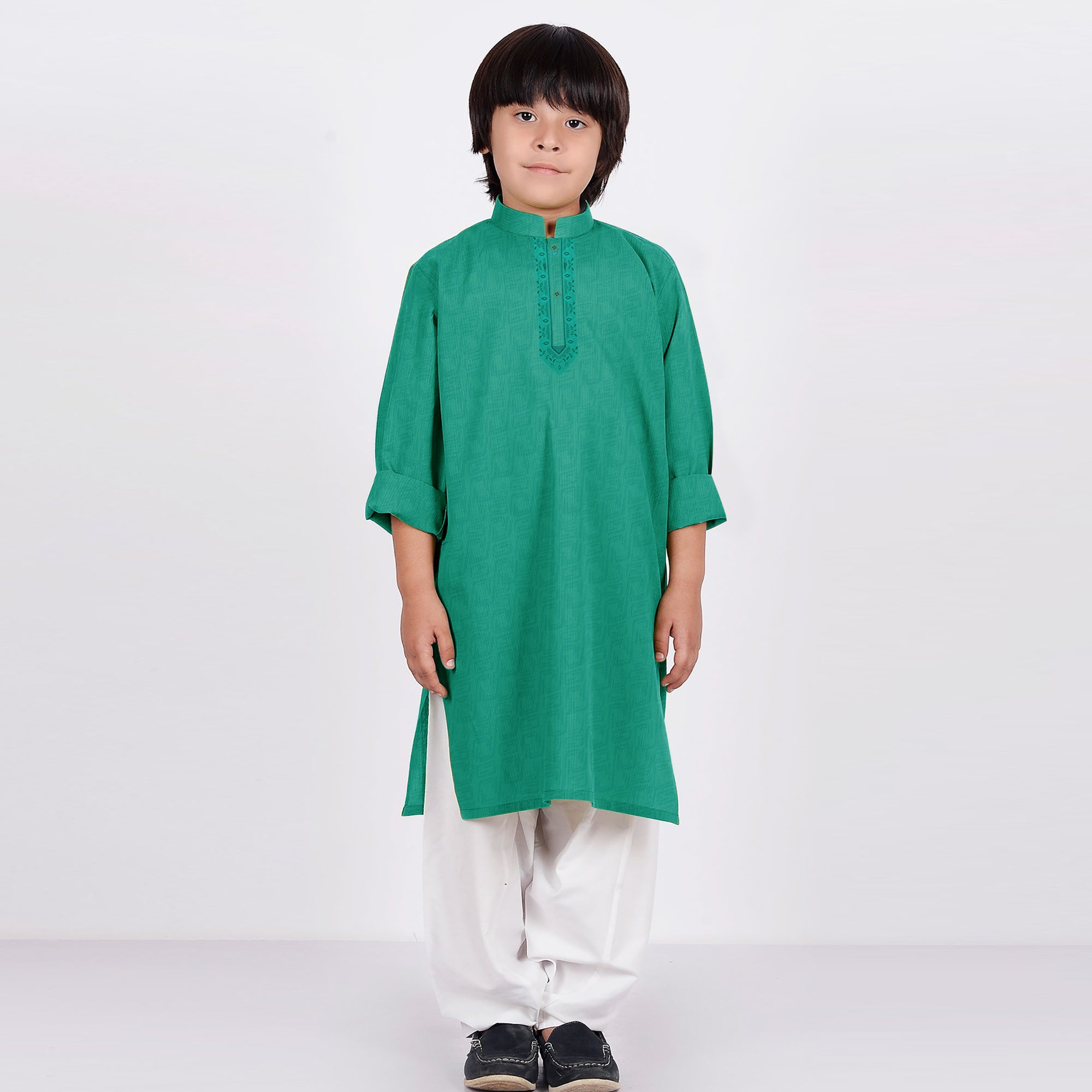 Premium Kurta & Shalwar For Boys-Green & White-BE6932