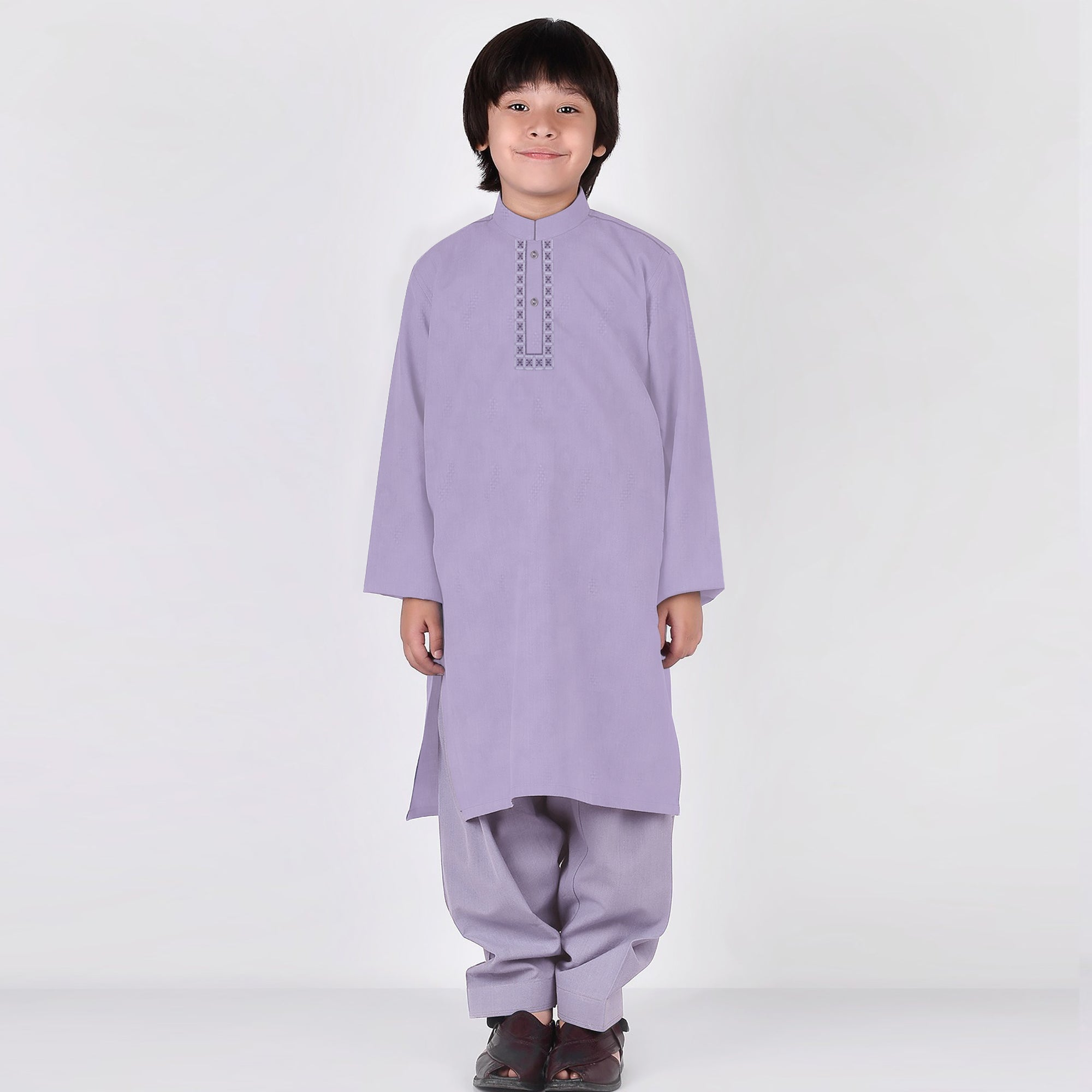 Premium Kurta & Shalwar For Boys-Light Purple-BE6925