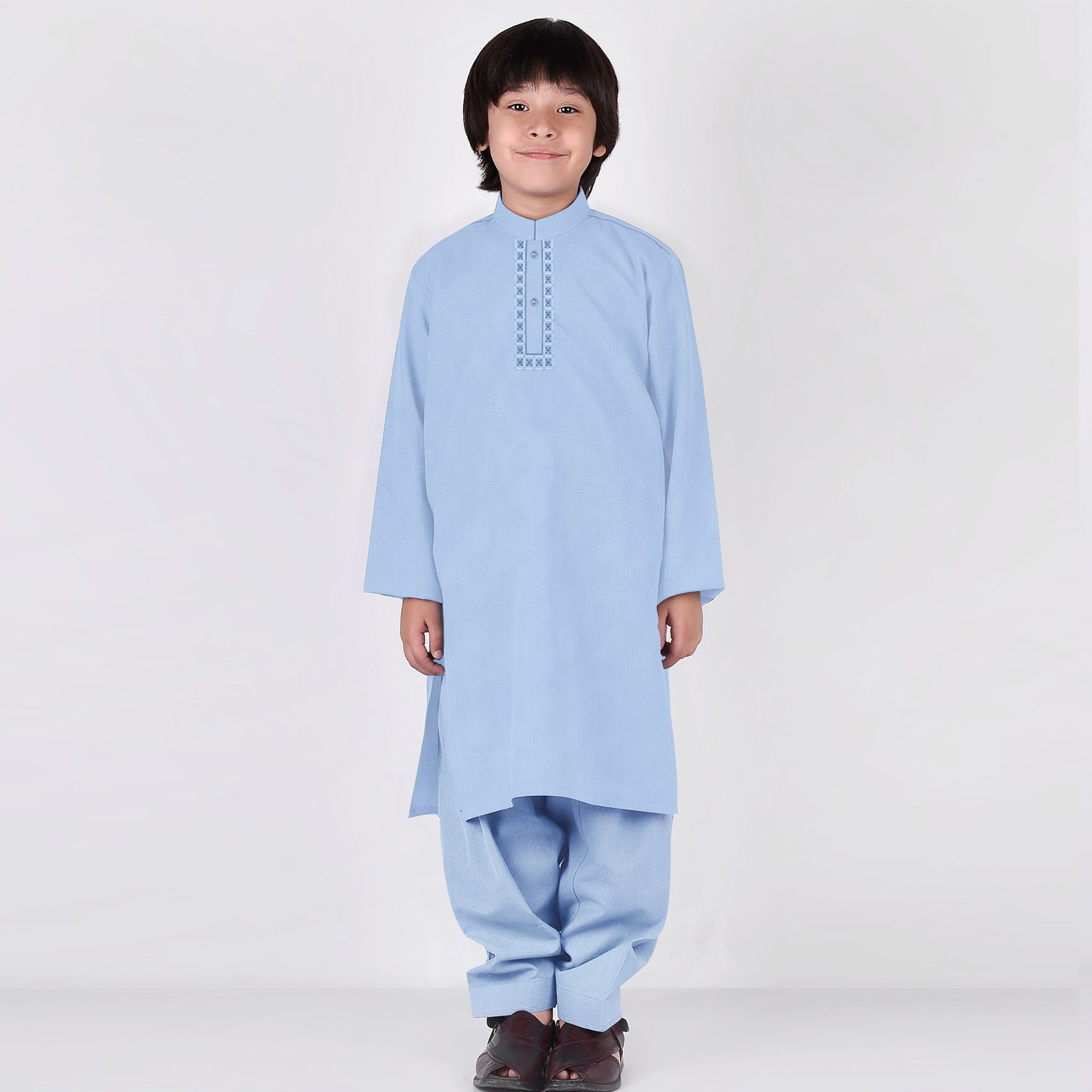 Premium Kurta & Shalwar For Boys-Light Sky-BE6926