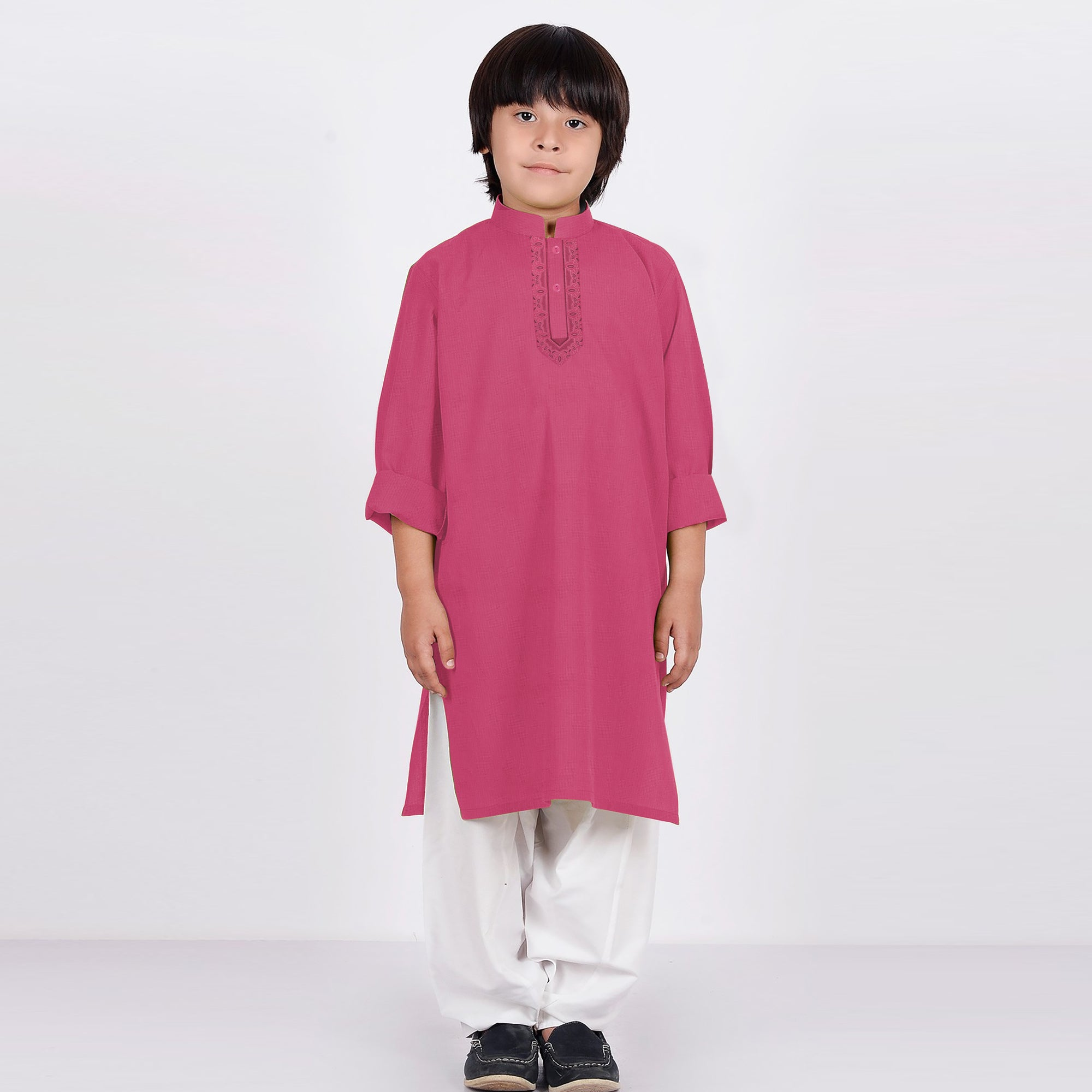 Premium Kurta & Shalwar For Boys-Pink & White-BE6930