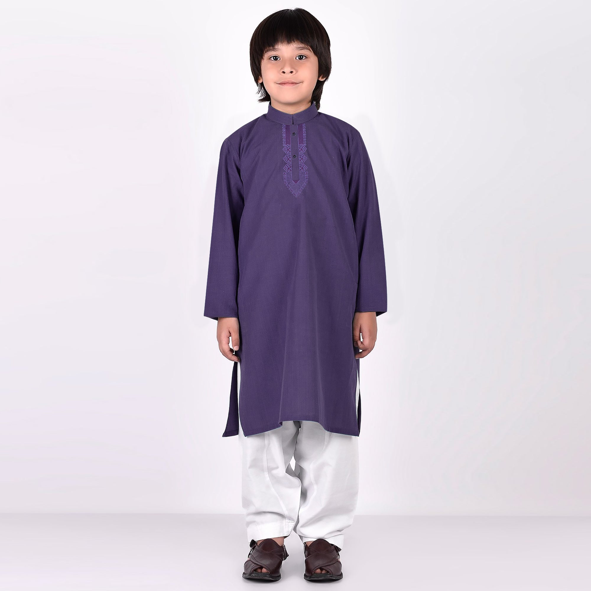 Premium Kurta & Shalwar For Boys-Purple with White-BE6923