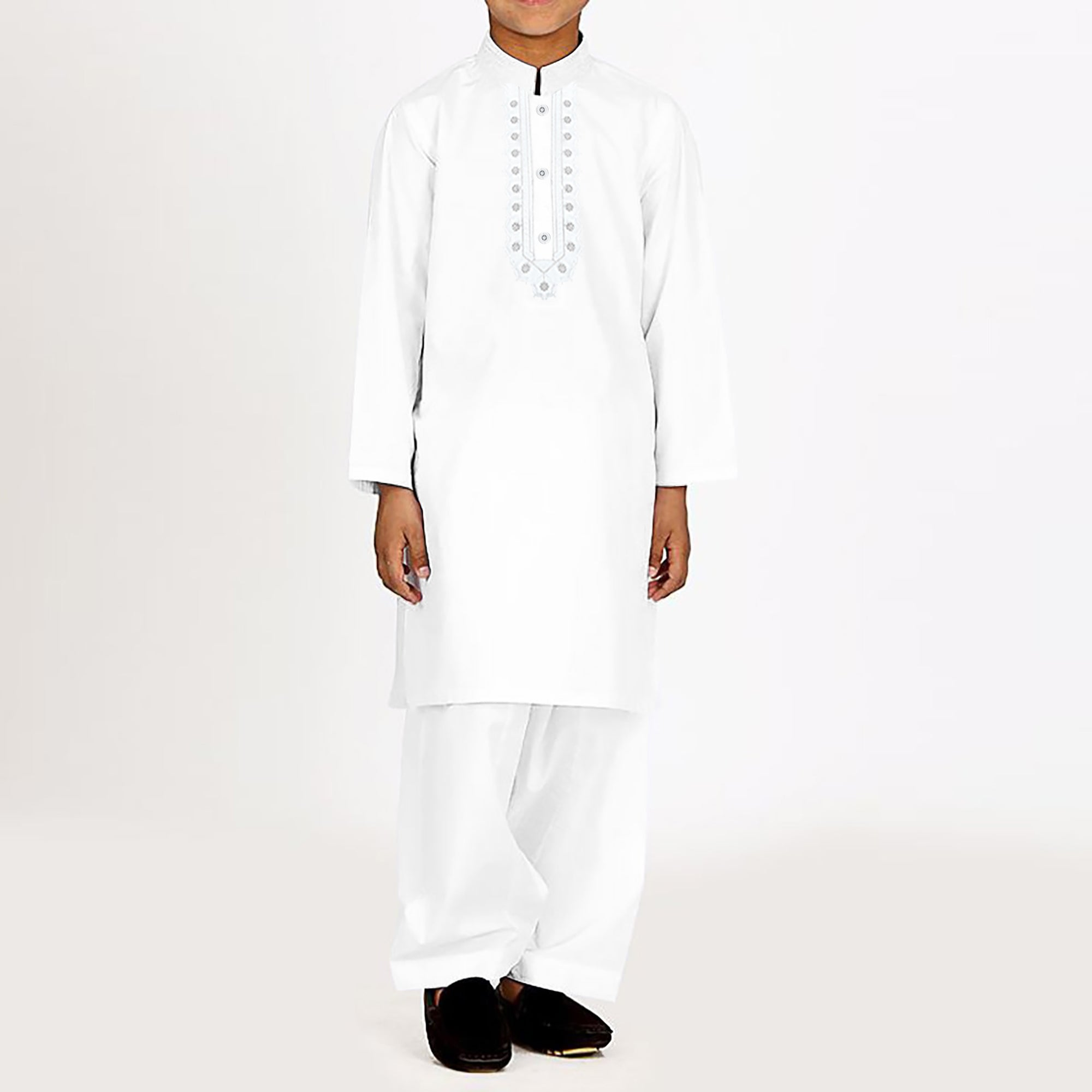 Premium Kurta & Shalwar For Boys-White-BE6919