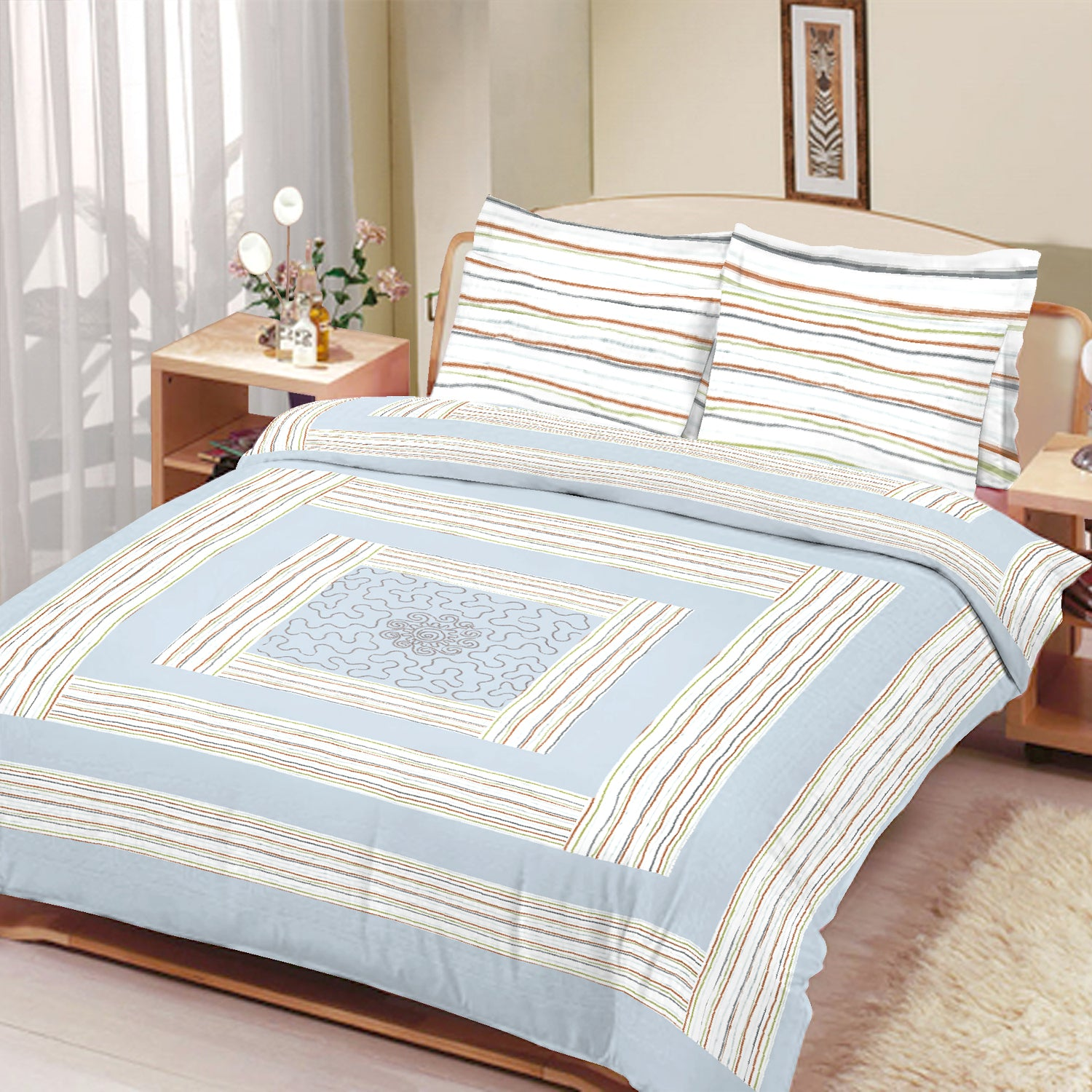 brandsego - Premium Quality Cotton Sutton Double Bed Sheet & Pillow Set-BE9167