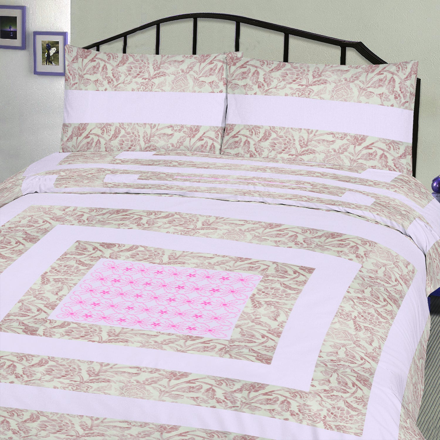 brandsego - Premium Quality Cotton Sutton Double Bed Sheet & Pillow Set-BE9174