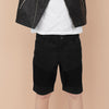 Premium Quality Stretch Denim 3 Quarter Short For Kids-Black-BE8981