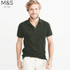 M&S Single Jersey Polo Shirt For Men-Dark Olive Melange-NA839