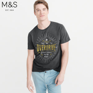 M&S Crew Neck Tee Shirt For Men-Light Black-NA835